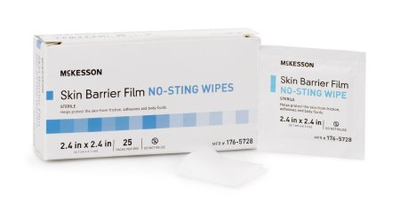 McKesson Individual Packet 2.4 X 2.4 Inch Sterile Skin Barrier Film No Sting Wipes