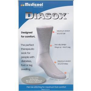 Medicool Diasox,White XL Medicool Diasox,White XL Socks Medicool - Americare Medical Supply
