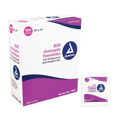 Dynarex Antiseptic Wipe Benzalkonium BZK First Aid Wipes 100/Box Dynarex Antiseptic Wipe Benzalkonium BZK First Aid Wipes 100/Box Antiseptic Wipes Dynarex - Americare Medical Supply