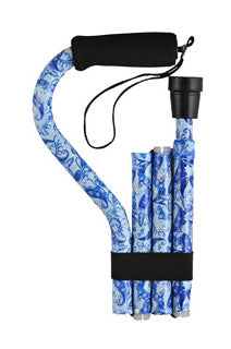 Nova Blue Porcelain Cane Folding Offset with Strap