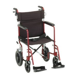 "Nova Transport Chair 20"" Lightweight W/Hand  Brakes Red"