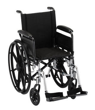 Nova Hammertone Wheelchair 16 Inch Lightweight With Flip Back Full Arms & Swing Away Footrests