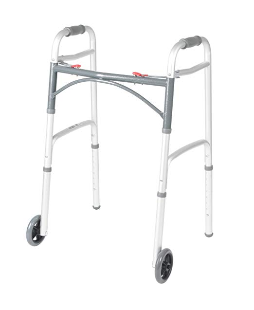Drive Adult Deluxe Folding Walker Two Button With 5