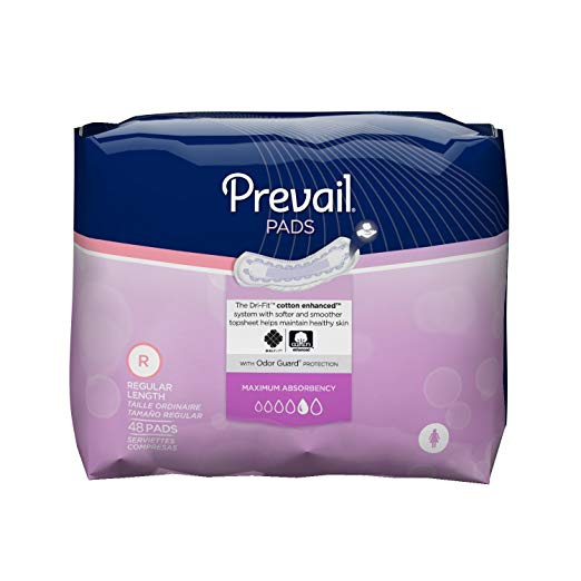 Prevail Bladder Control Pads, Maximum/Regular, 48 Count (Pack of 4)