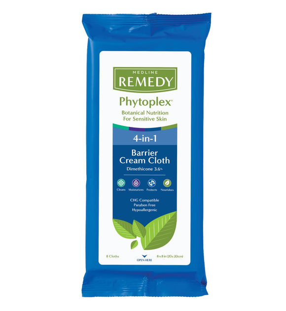 Medline Remedy Phytoplex 4 in 1 Barrier Cream Cloth 8 x 8