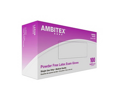 Ambitex Gloves Latex Powder Free 100 Count