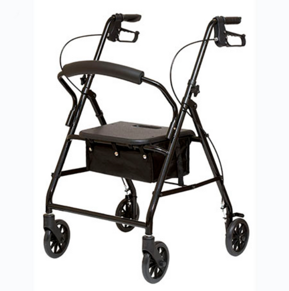 Alex Lightweight Steel Rollator With Brakes And Padded Seat Alex Lightweight Steel Rollator With Brakes And Padded Seat Rollators Alex - Americare Medical Supply
