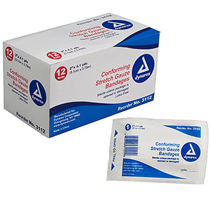 "Dynarex Conforming Stretch Gauze Bandages 12 rolls 3""x 4.1 yds 3113 Dynarex Conforming Stretch Gauze Bandages 12 rolls 3""x 4.1 yds 3113 Bandages Dynarex - Americare Medical Supply"