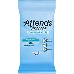 Attends Discreet Flushable Wipes Attends Discreet Flushable Wipes Wipes Attends - Americare Medical Supply