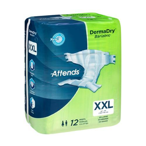 Attends DermaDry Incontinent Briefs - Heavy Absorbency Attends DermaDry Incontinent Briefs - Heavy Absorbency Fitted Tab Briefs Attends - Americare Medical Supply