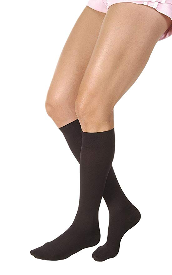 Jobst Relief 15-20mmHg Black Knee High Full Calf Closed Toe Compression Stockings