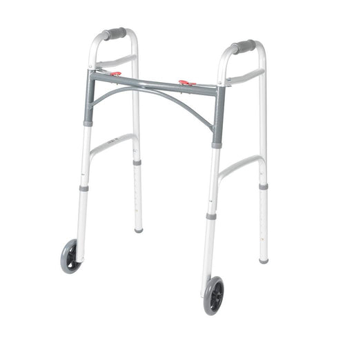 Alex Orthopedic Junior Dual Button Folding Walker With Wheels
