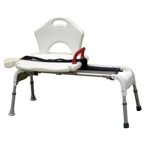 Drive Medical Folding Universal Sliding Transfer Bench, White