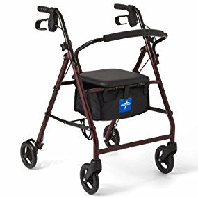 Medline Rollator Walker with Seat, Steel Rolling Walker with 6-inch Wheels Supports up to 350 lbs