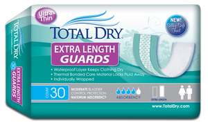 Total Dry Extra Dry Guards 30pack Total Dry Extra Dry Guards 30pack Bladder Control Pads TOTAL DRY - Americare Medical Supply