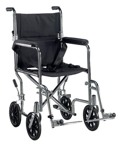 Drive Deluxe Go-Kart Steel Transport Chair (Chrome) Drive Deluxe Go-Kart Steel Transport Chair (Chrome) Transport Wheelchairs Drive - Americare Medical Supply