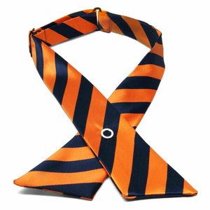 Girl's Navy Blue and Orange Striped Crossover Tie (Required)