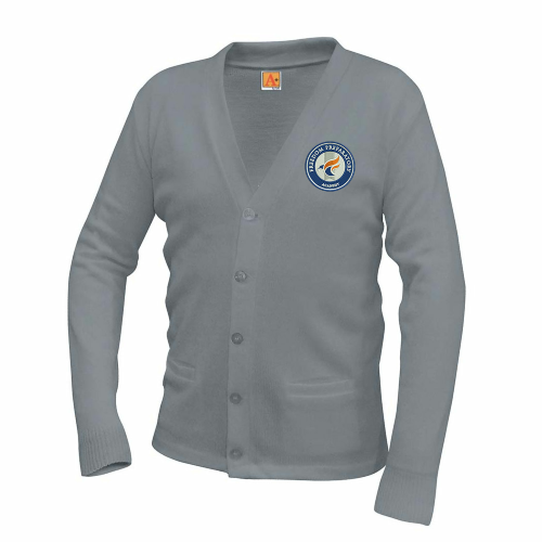 Unisex Classic V-Neck Cardigan- Heather Grey (Optional)