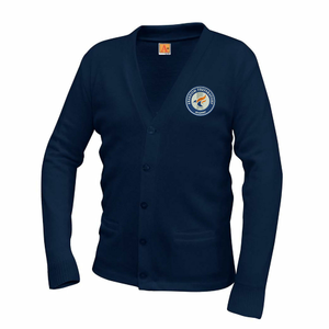 Unisex Classic V-Neck Cardigan Navy (Optional)
