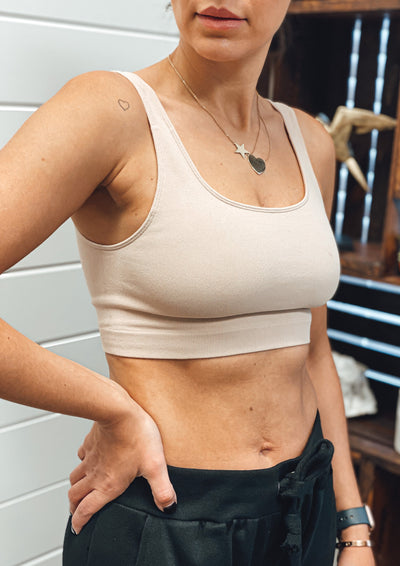 Seamless Ribbed Lounge Bra (Latte)