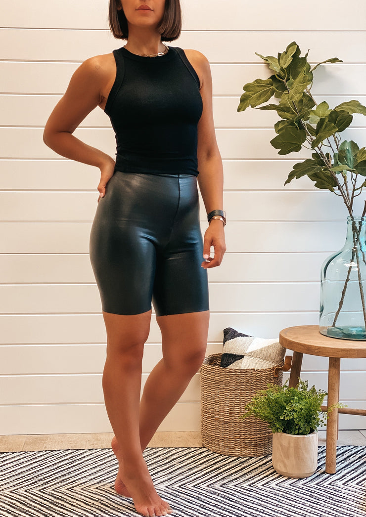 Faux Leather Bike Shorts (Commando)
