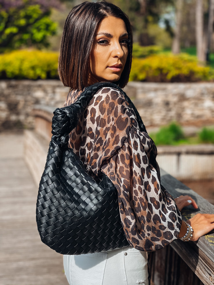 Woven Hobo Bag (Black)