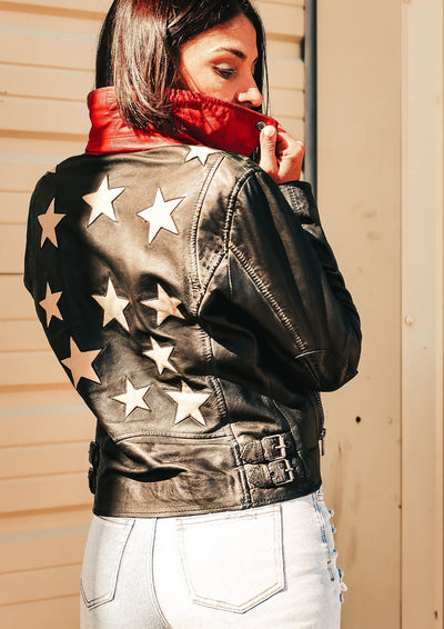 Star Spangled Leather Jacket (Black)