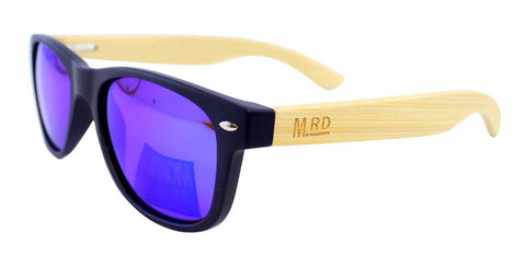 Kids Wooden Sunglasses - Navy w Reflective Lens