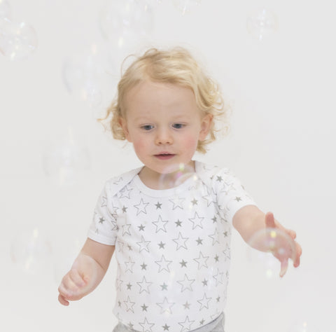 Organic Cotton Short Sleeve Bodysuit - Grey Star
