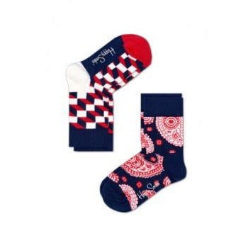 Kids Socks 2 Pack - Paisley Filled Optic Navy/Red/White