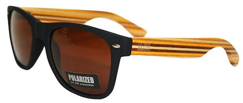 Wooden Sunglasses - Black with Striped Arms & Brown Lens