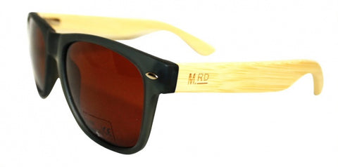 Wooden Sunglasses - Grey with Plain Arms & Brown Lens