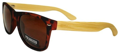 Wooden Sunglassess - Tortoise Shell with Plain Arms & Brown Lens