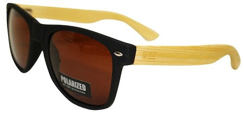 Wooden Sunglasses - Matte Black with Plain Arms & Brown Lens