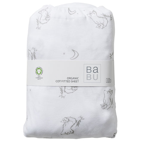 Organic Cotton Jersey Fitted Bottom Cot Sheet - Fox Grey