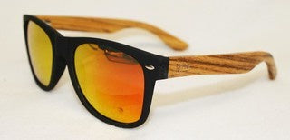 Wooden Sunglasses - Black with Plain Arms & Reflective Lenses