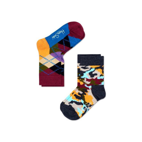 Kids Socks 2 Pack - Argyle Bark Maroon/Orange/Blue