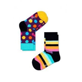 Kids Socks 2 Pack - Big Dot Stripe Purple/Yellow/Multi