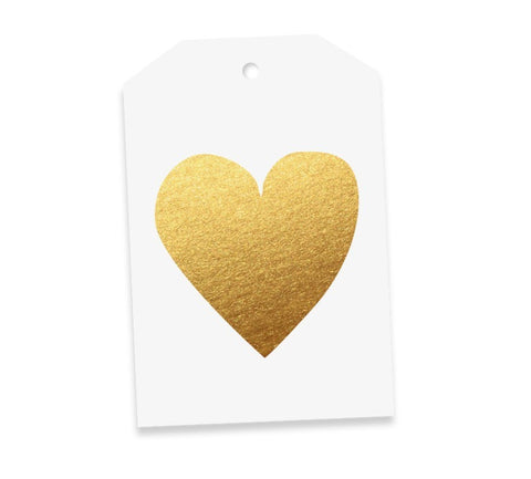 Heart White & Gold Gift Tag