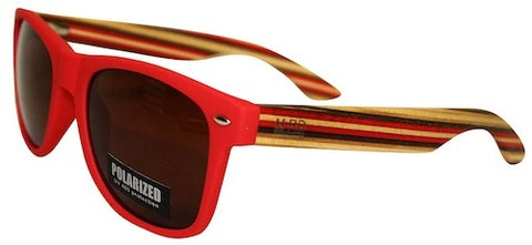 Wooden Sunglasses - Matte Red with Striped Arms & Brown Lens