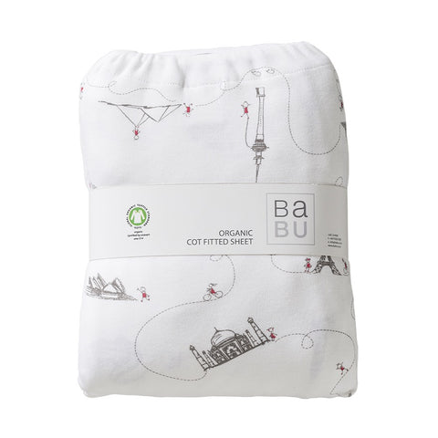 Organic Cotton Jersey Fitted Bottom Cot Sheet - Around The World