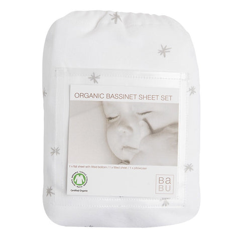 Organic Cotton Jersey Bassinet Sheet Set - Grey Star