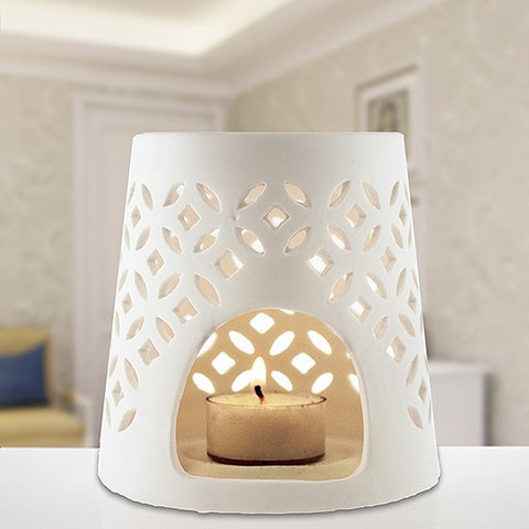White Ceramic Oil Burner - Cone