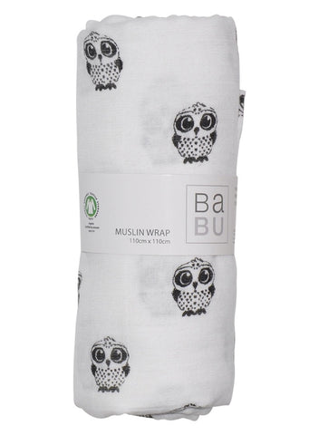Organic Cotton Muslin Wrap - Owl Black
