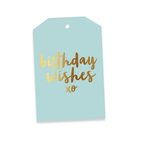 Birthday Wishes Aqua & Gold Gift Tag