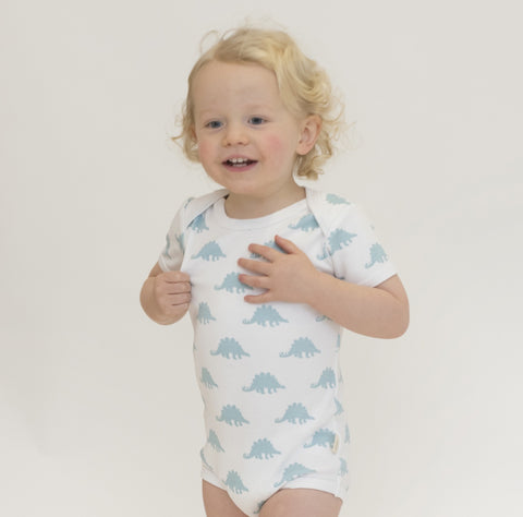 Organic Cotton Short Sleeve Bodysuit - Dinosaur