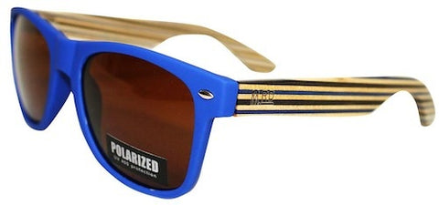 Wooden Sunglasses - Matte Blue with Striped Arms & Brown Lens