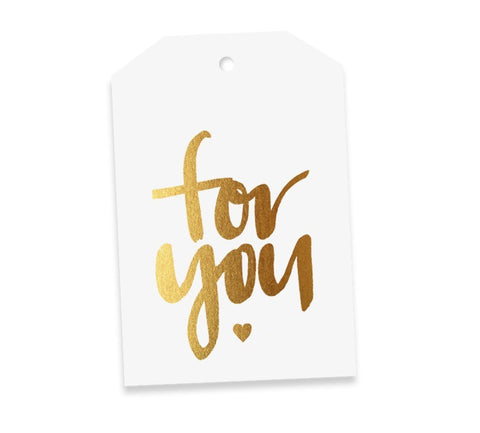 For You White & Gold Gift Tag
