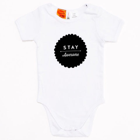 Stay Awesome Onesie White