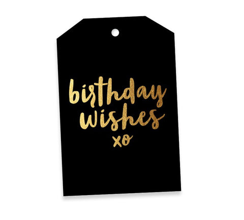 Birthday Wishes Black & Gold Gift Tag